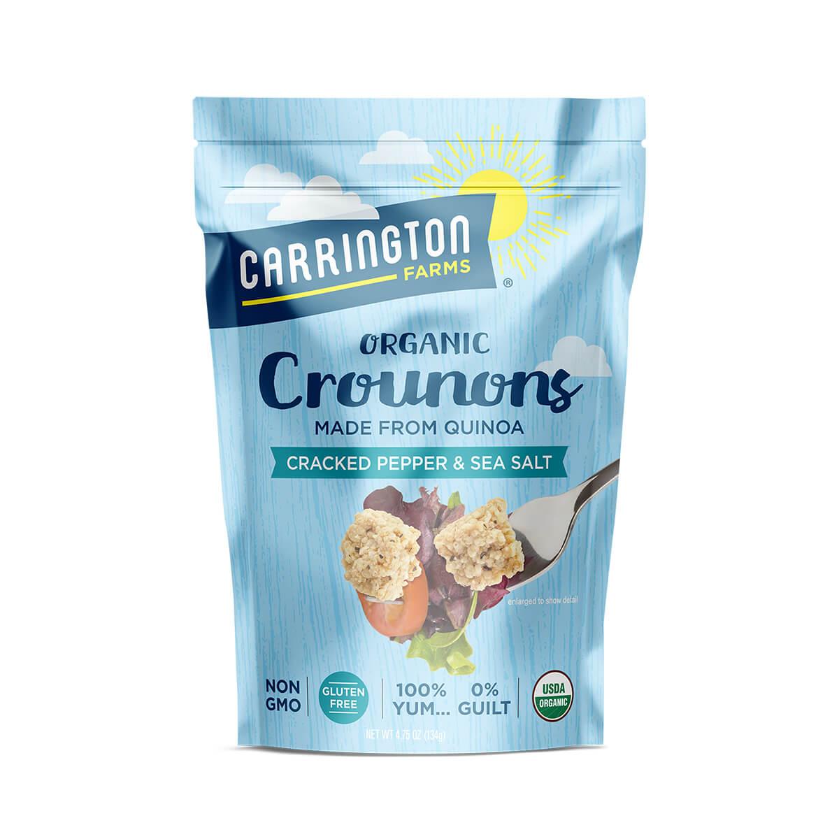 Carrington Farms Cracked Pepper & Sea Salt Crounons, front of bag, organic, non gmo