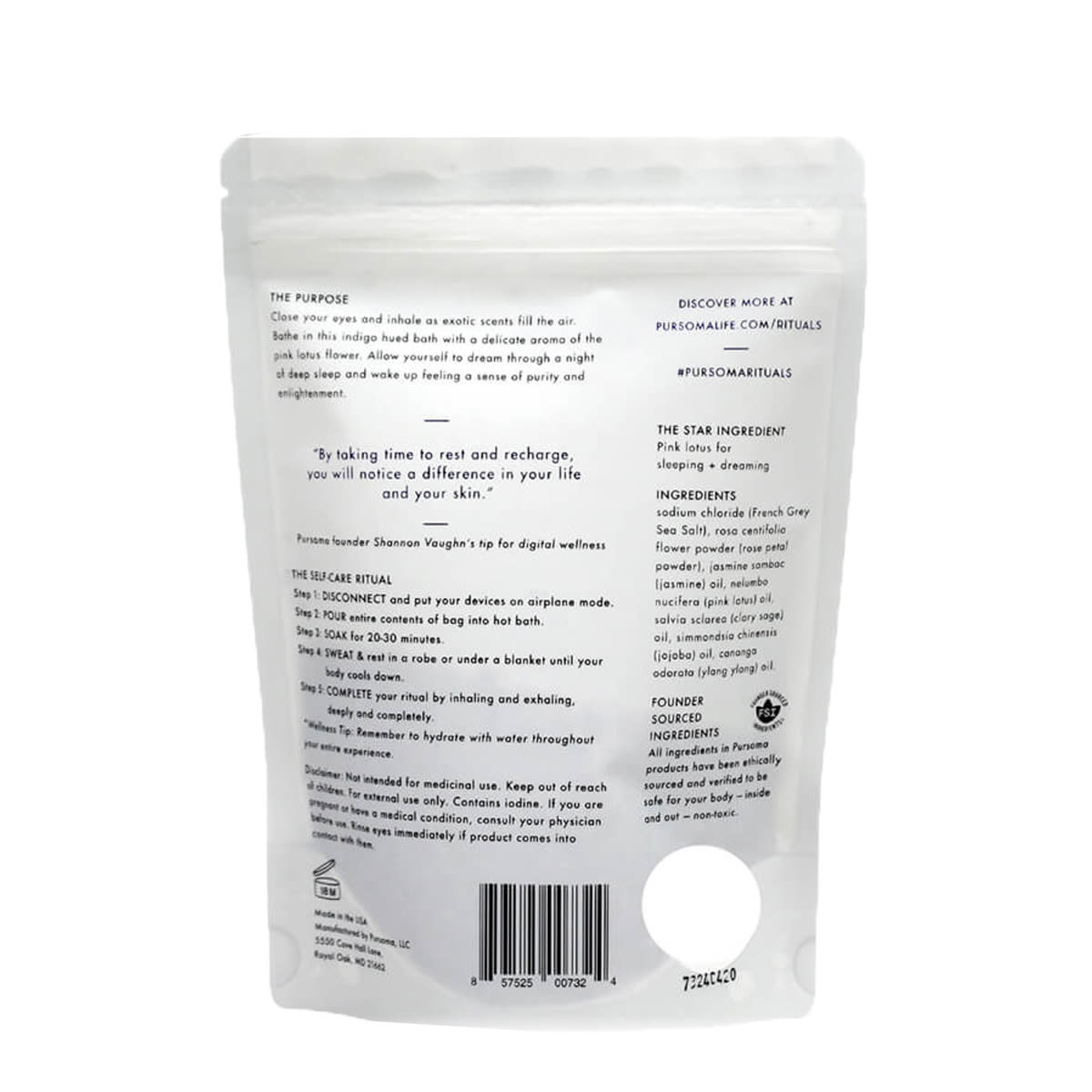 Pursoma Moonlit Ritual Bath Soak - back of bag