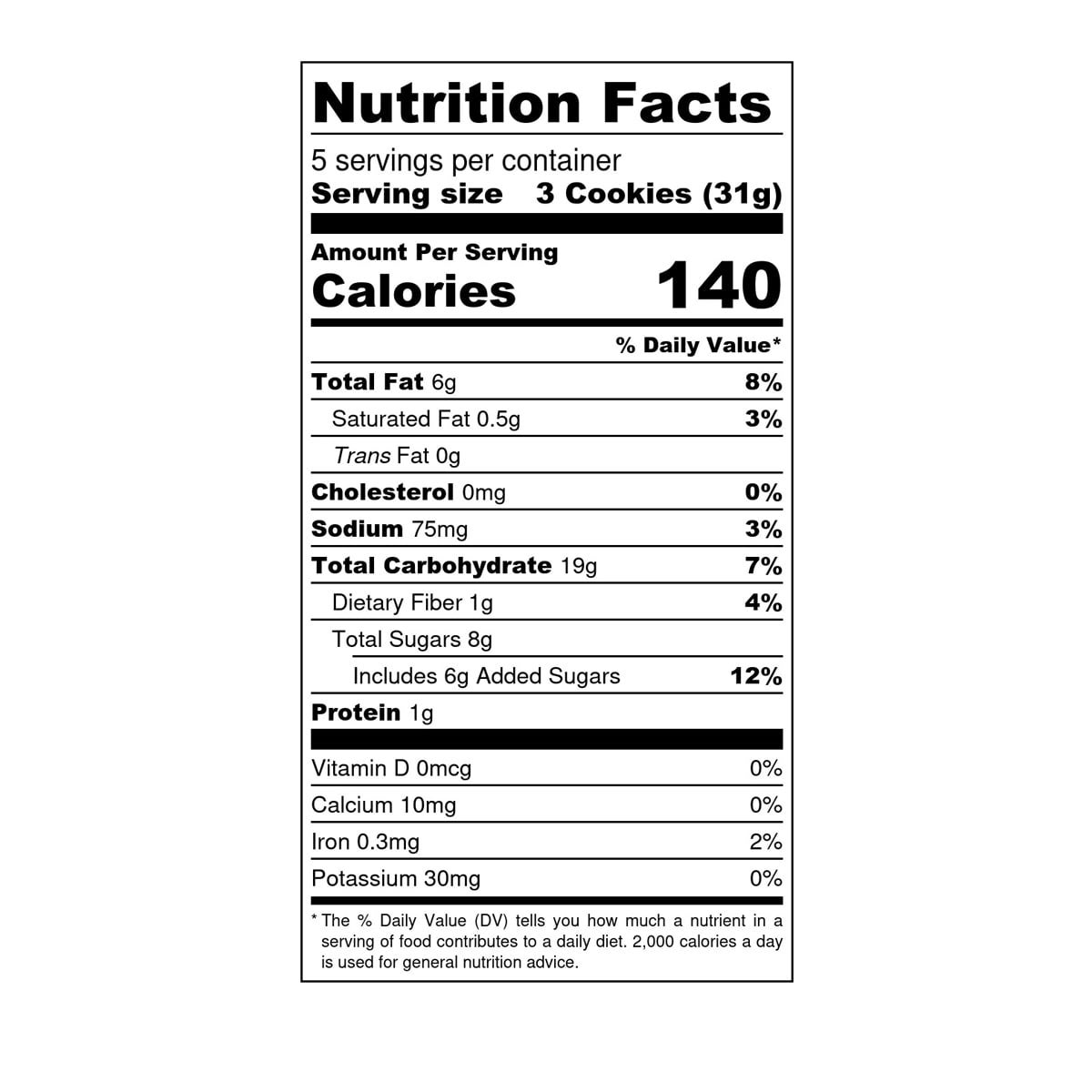Partake Ginger Snap Soft Baked Cookies, nutrition fact panel