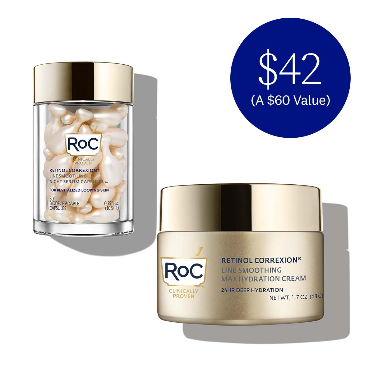 RoC Retinol Correxion Line Smoothing Night Serum Capsules For Revitalized Looking Skin 30 Biodegradable Capsules 0.35 fl oz (10.5ml) and Retinol Correxion Line Smoothing Max Hydrating Cream 24 Hour Deep Hydration Net wt 1.7 oz (48g). $42 (a $60 value)