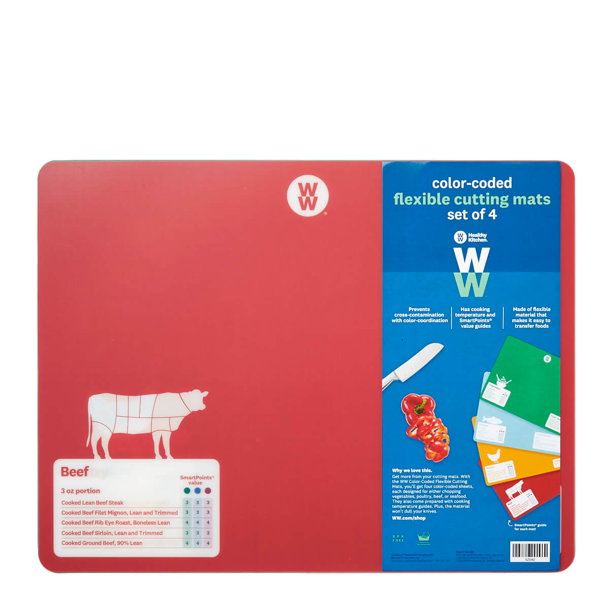 WW Color-Coded Flexible Cutting Mats, 4 cutting mats for different types of food, front of red cutting mat used for beef