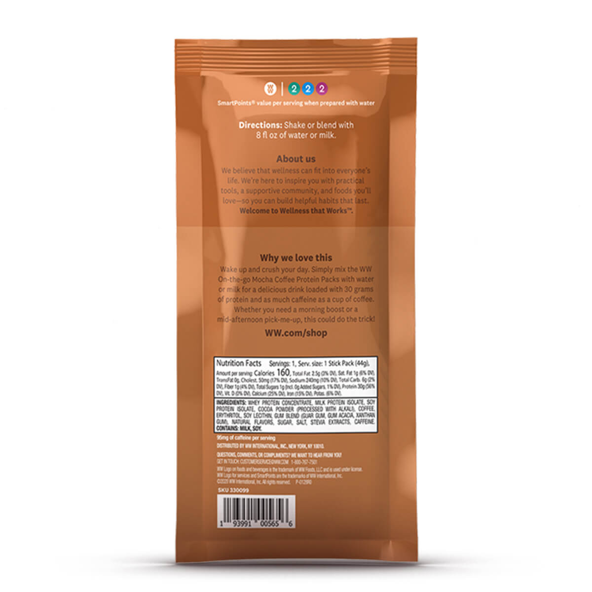 On the Go Mocha Coffee Protein Pack - pouch back