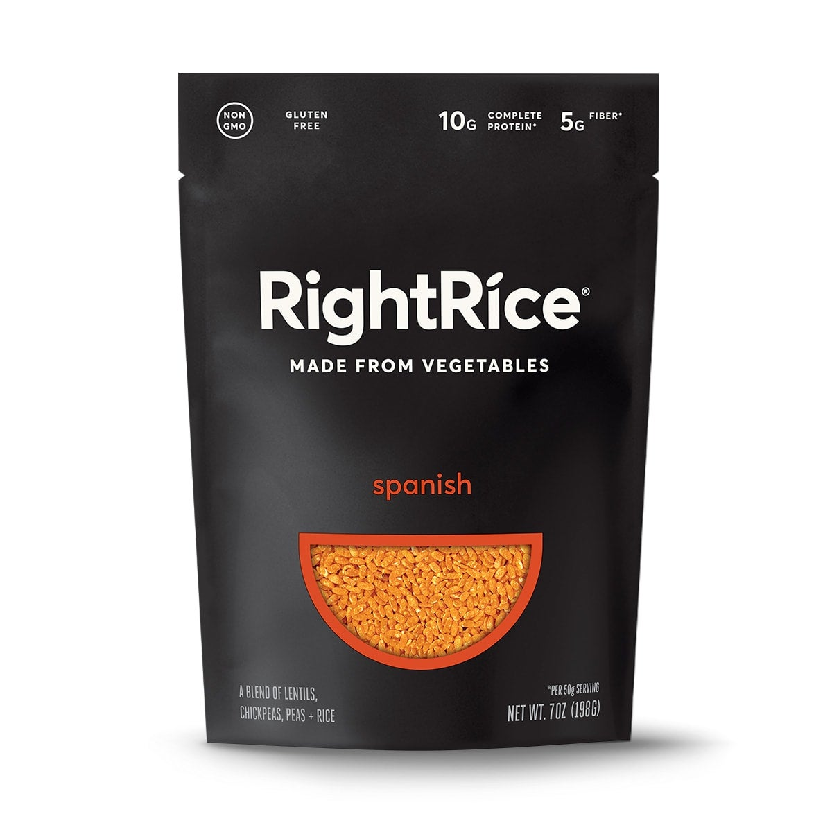 RightRice - Spanish, front of pack, rice made from vegetables, gluten free