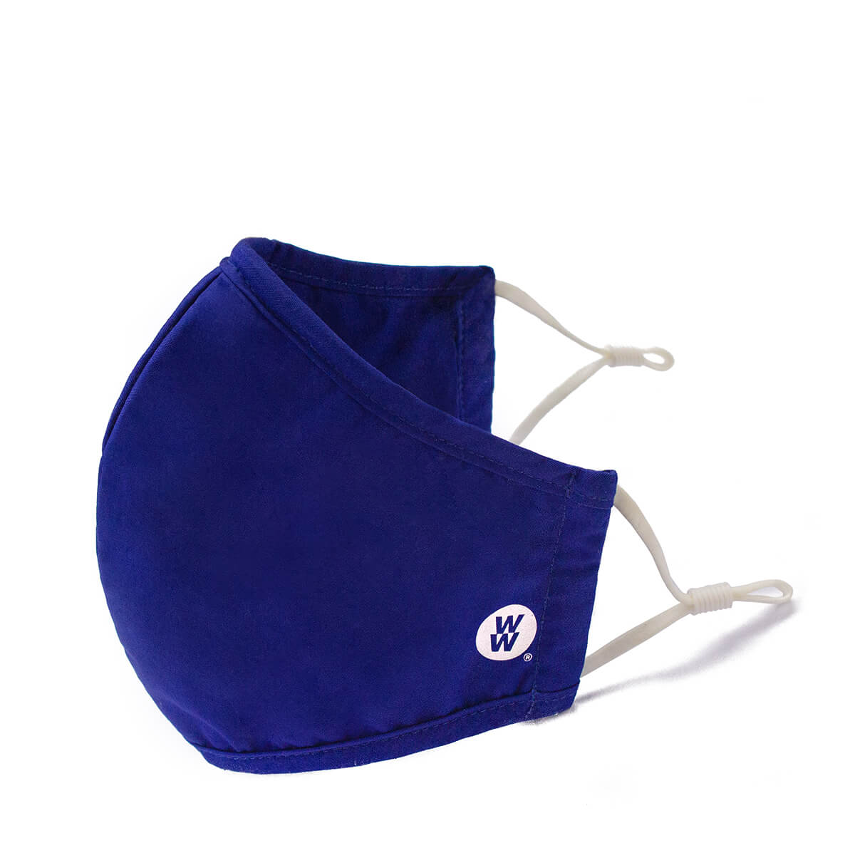 WW Reusable Cloth Mask, navy blue face mask with adjustable straps, WW coin logo on cheek