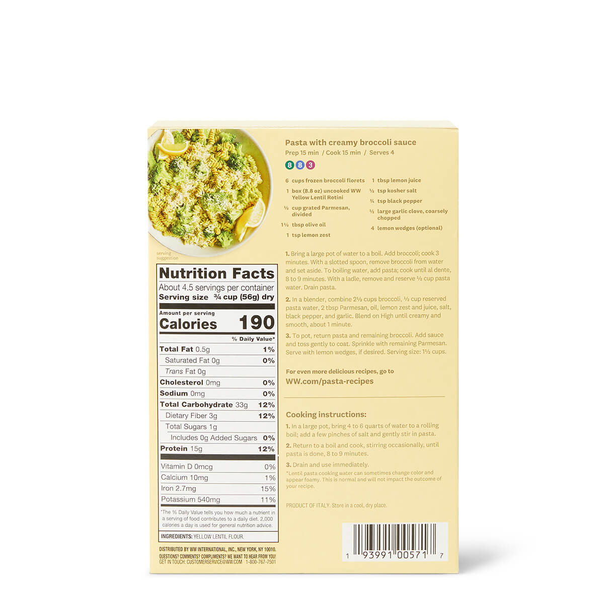 Yellow Lentil Rotini - back