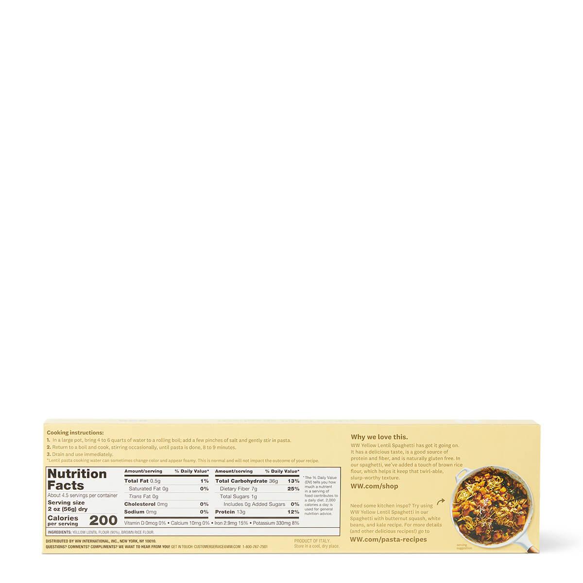 Yellow Lentil Spaghetti - back
