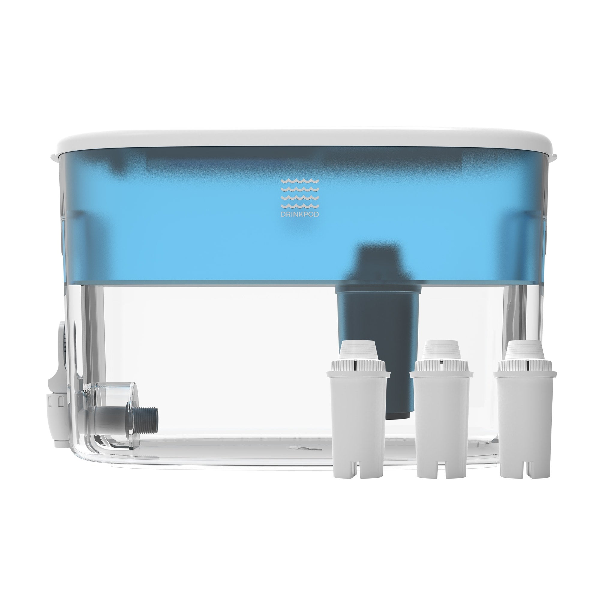 Water dispenser that is clear on the bottom half and blue on the top half. Comes with three water filters.