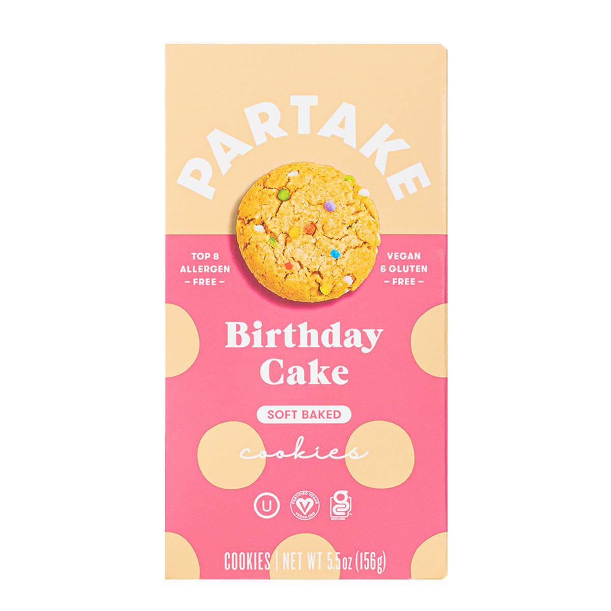 Partake Birthday Cake Soft Baked Cookies, front of bag, vegan, gluten free
