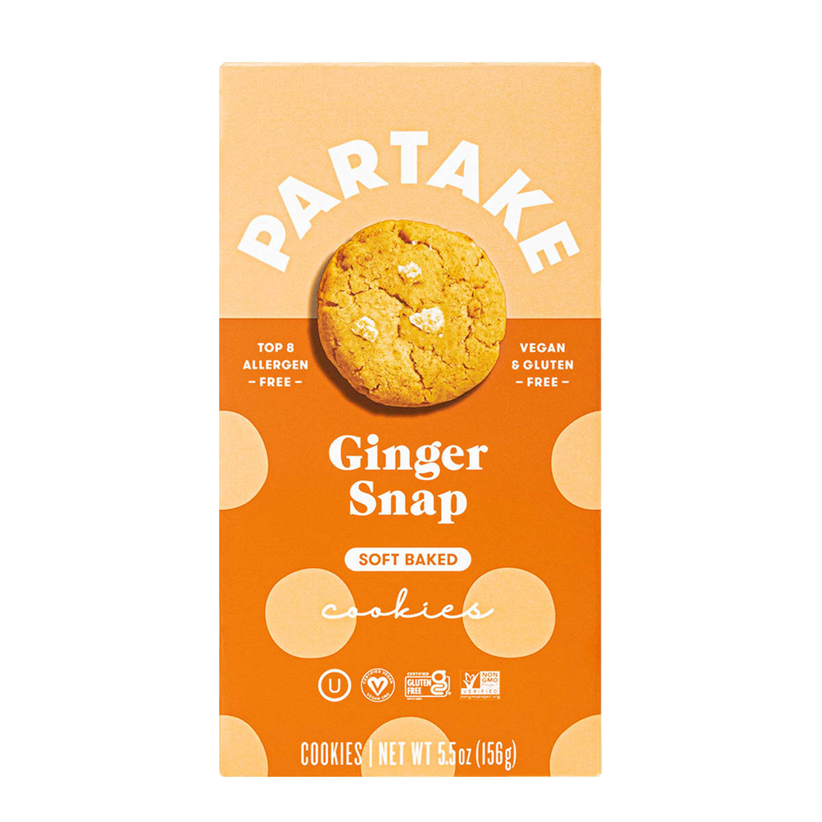 Partake Ginger Snap Soft Baked Cookies, vegan and gluten free