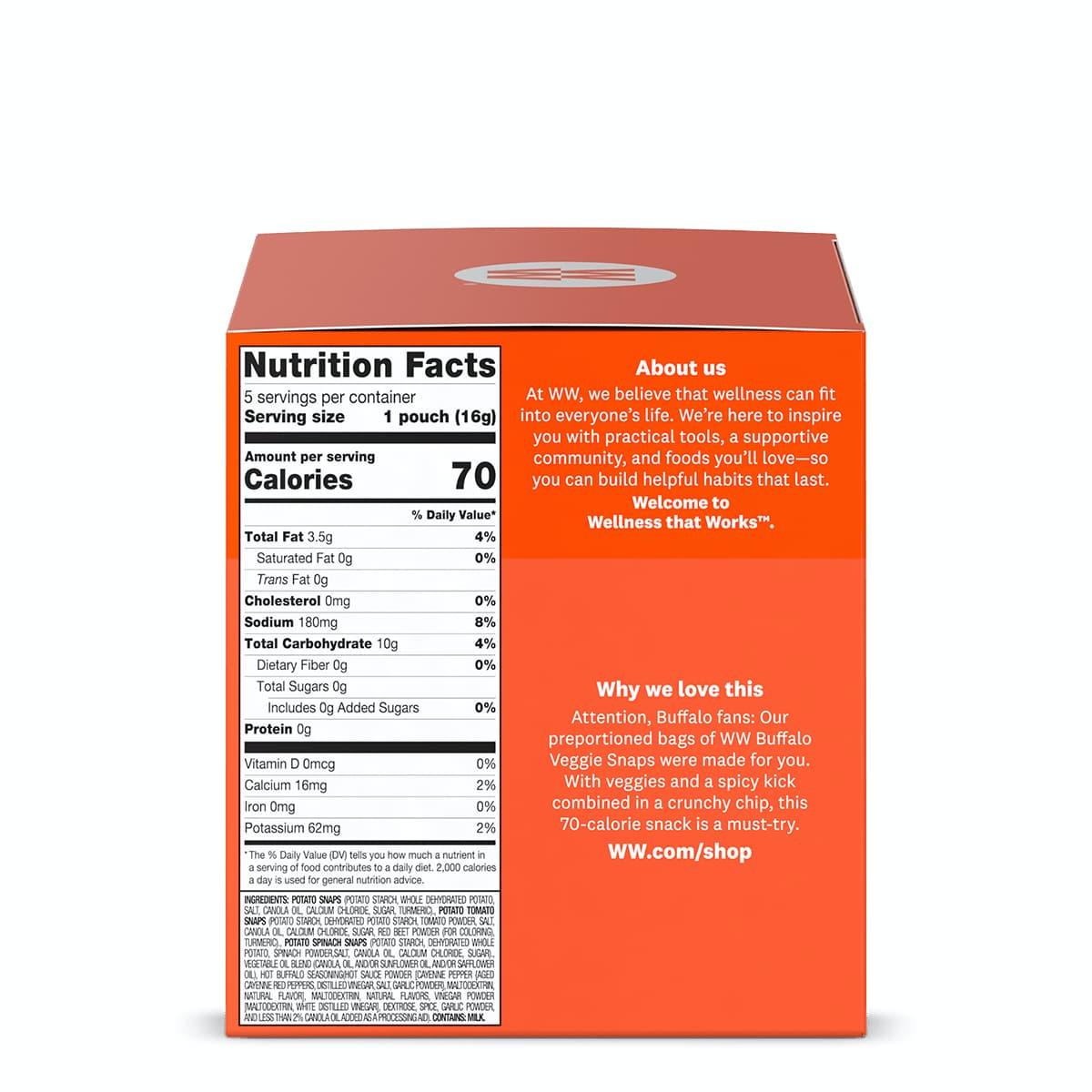 Buffalo Veggie Snaps - side of box, nutritional information