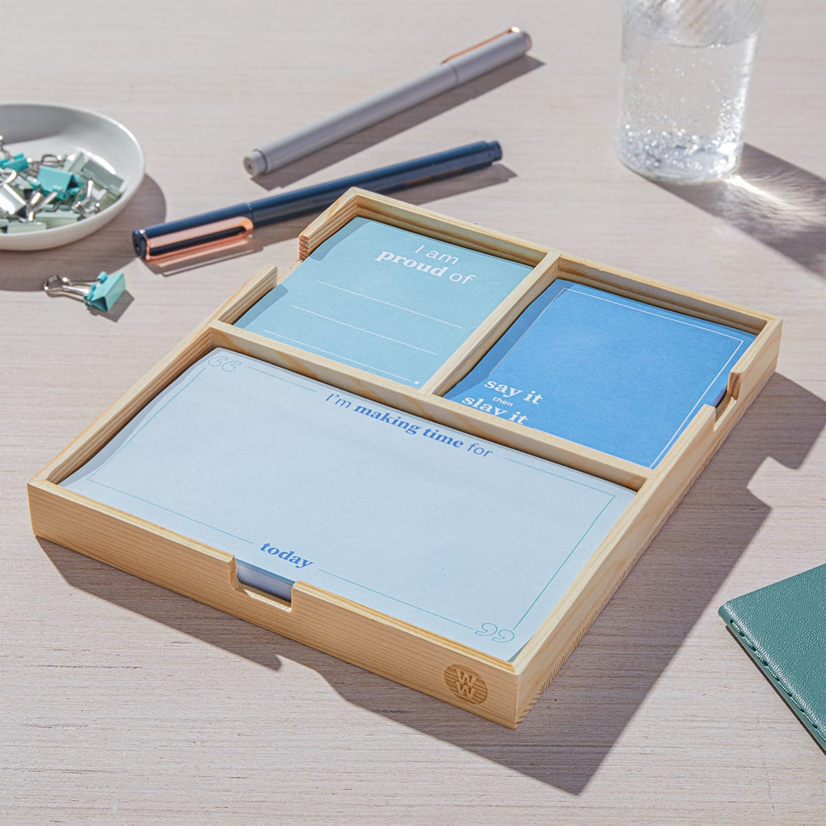 Daily Intentions Notepad - Blue - case