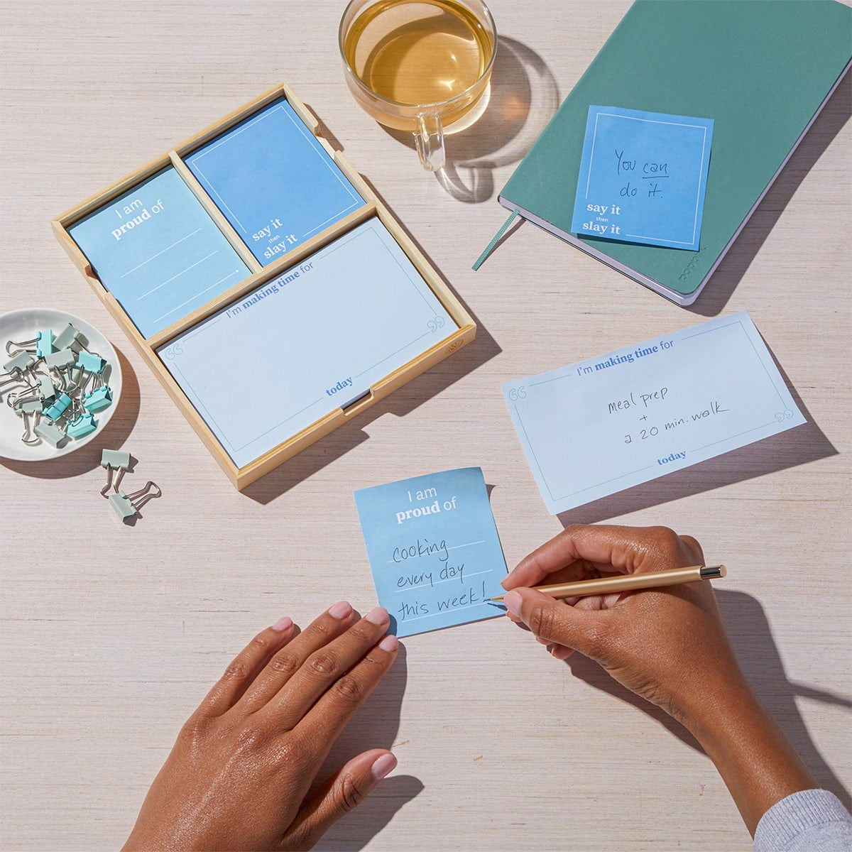 Daily Intentions Notepad - Blue - lifestyle