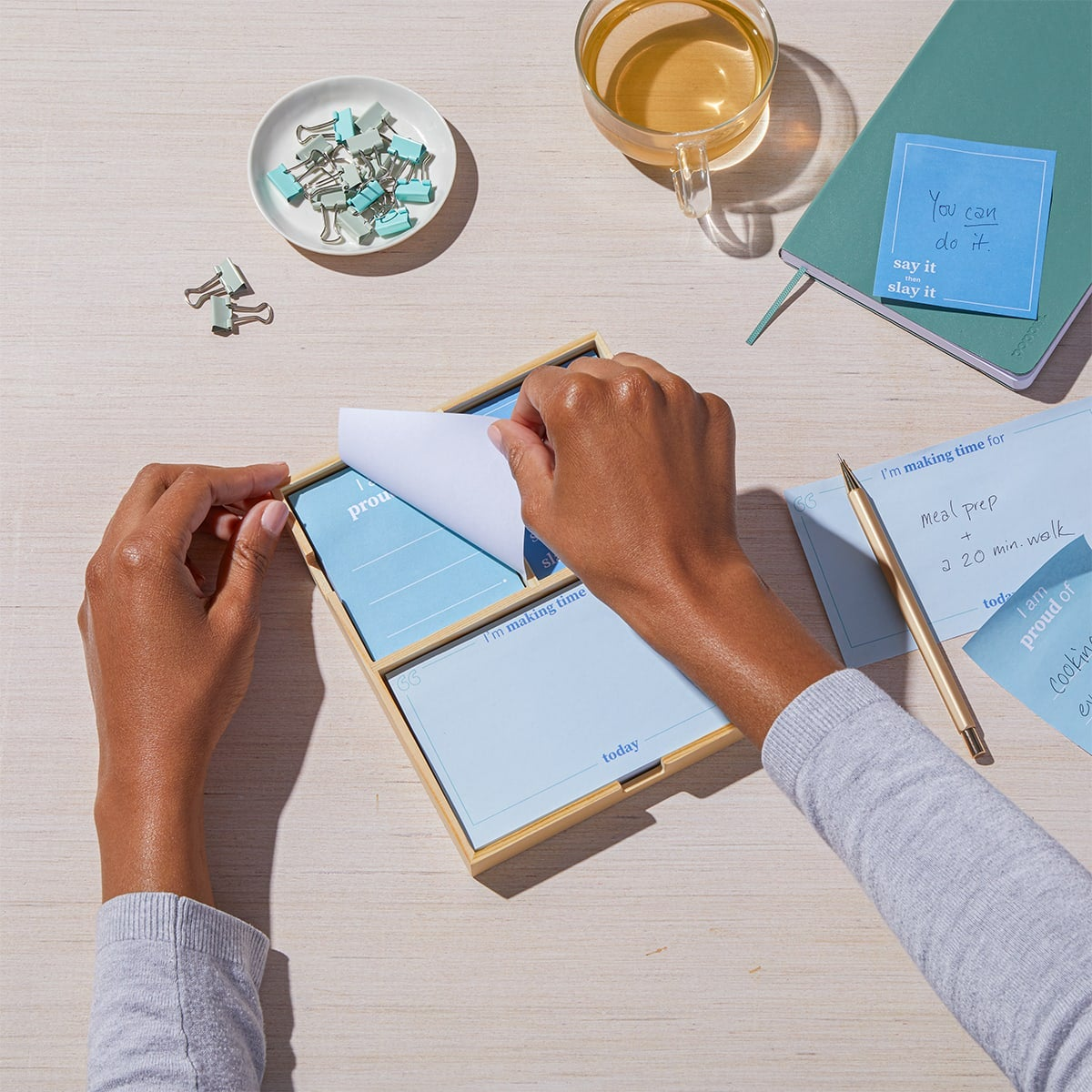 Daily Intentions Notepad - Blue - lifestyle 1