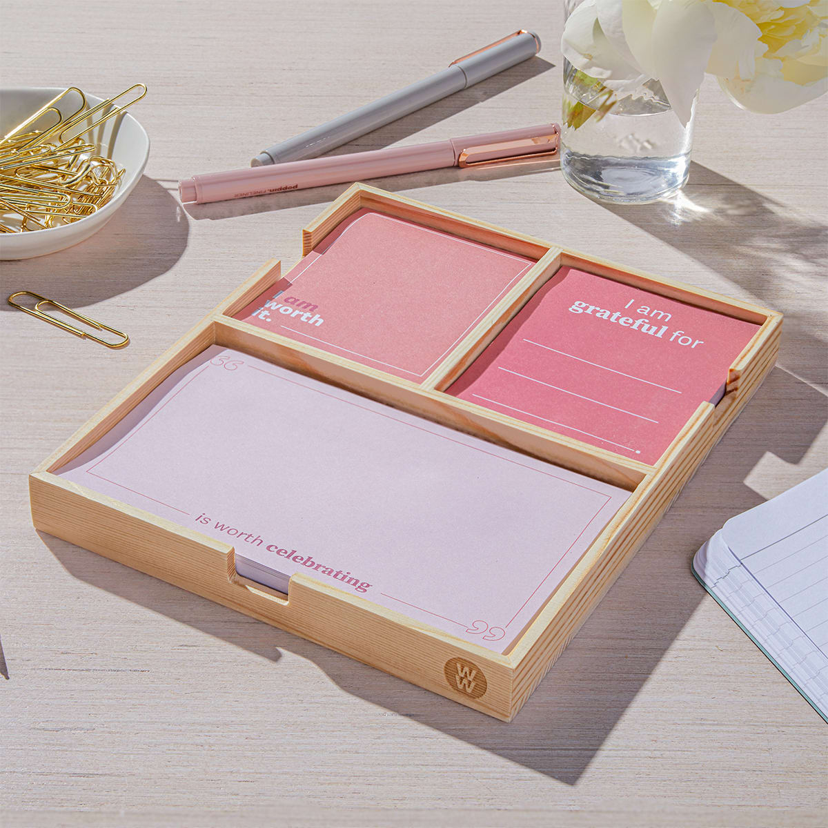 Daily Intentions Notepad - Pink - case