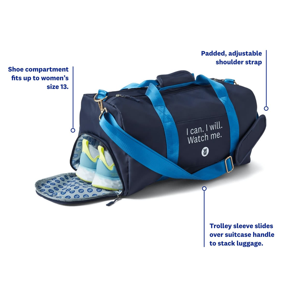 I can I will Watch Me Gym Bag - WW Gym Bag - infographic 1