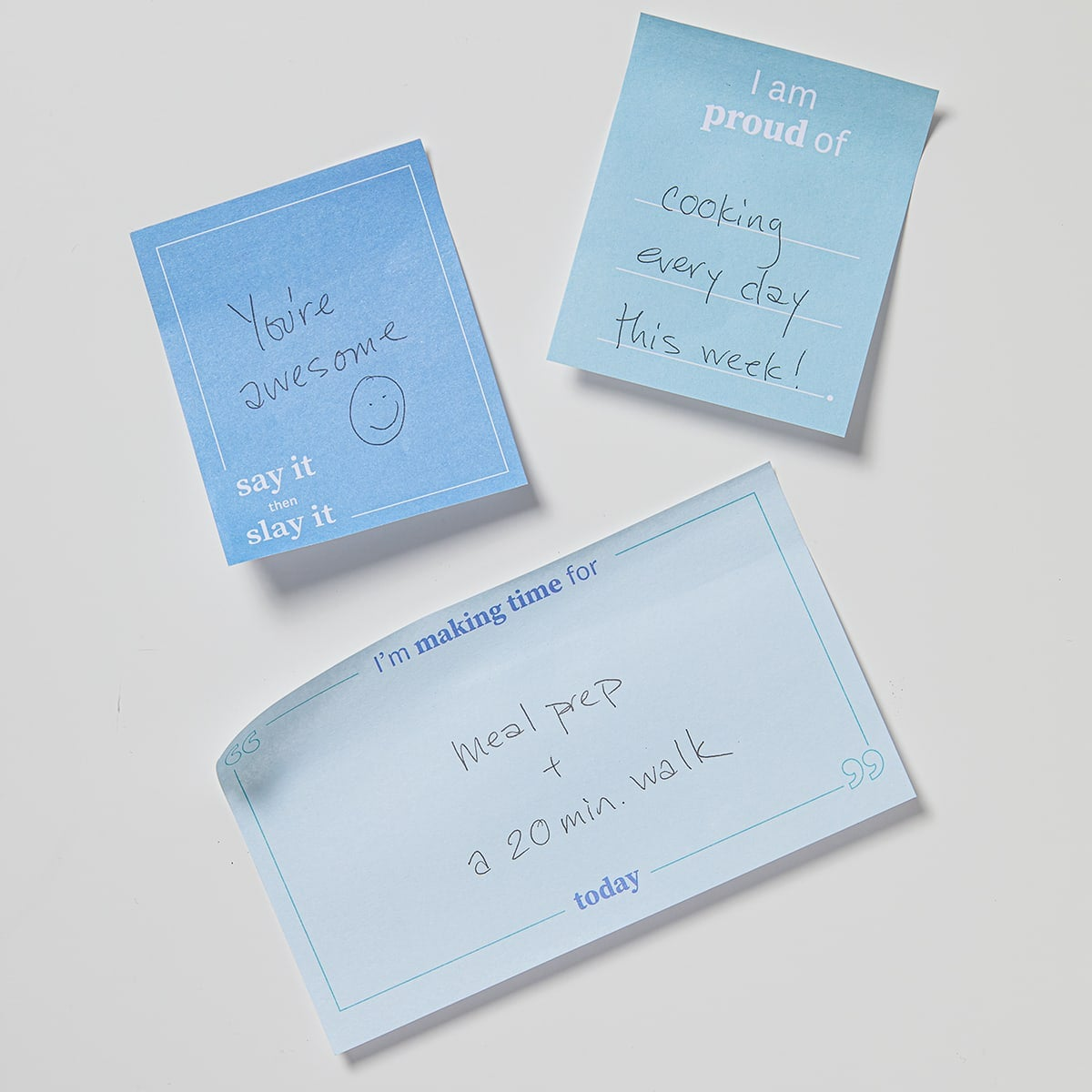 Daily Intentions Notepad - Blue - fridge