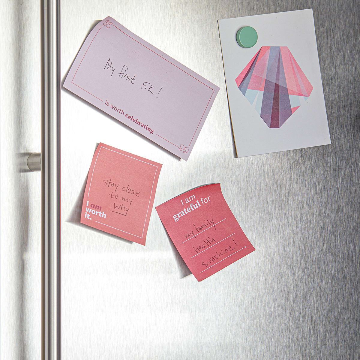 Daily Intentions Notepad - Pink - fridge