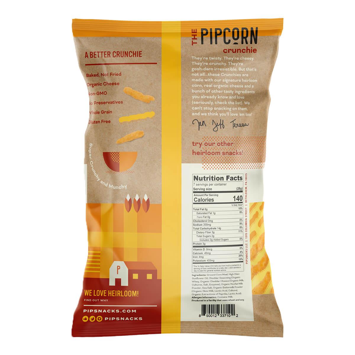 Pipcorn Cheddar Crunchies - back