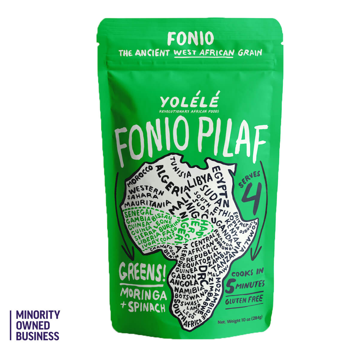 Yolele Greens Fonio Pilaf with moringa and spinach, gluten-free, kosher, vegan, and non-GMO. 4 servings per bag, 1 serving is 1/4 cup dry=1 cup cooked. Cooks in 5 minutes!