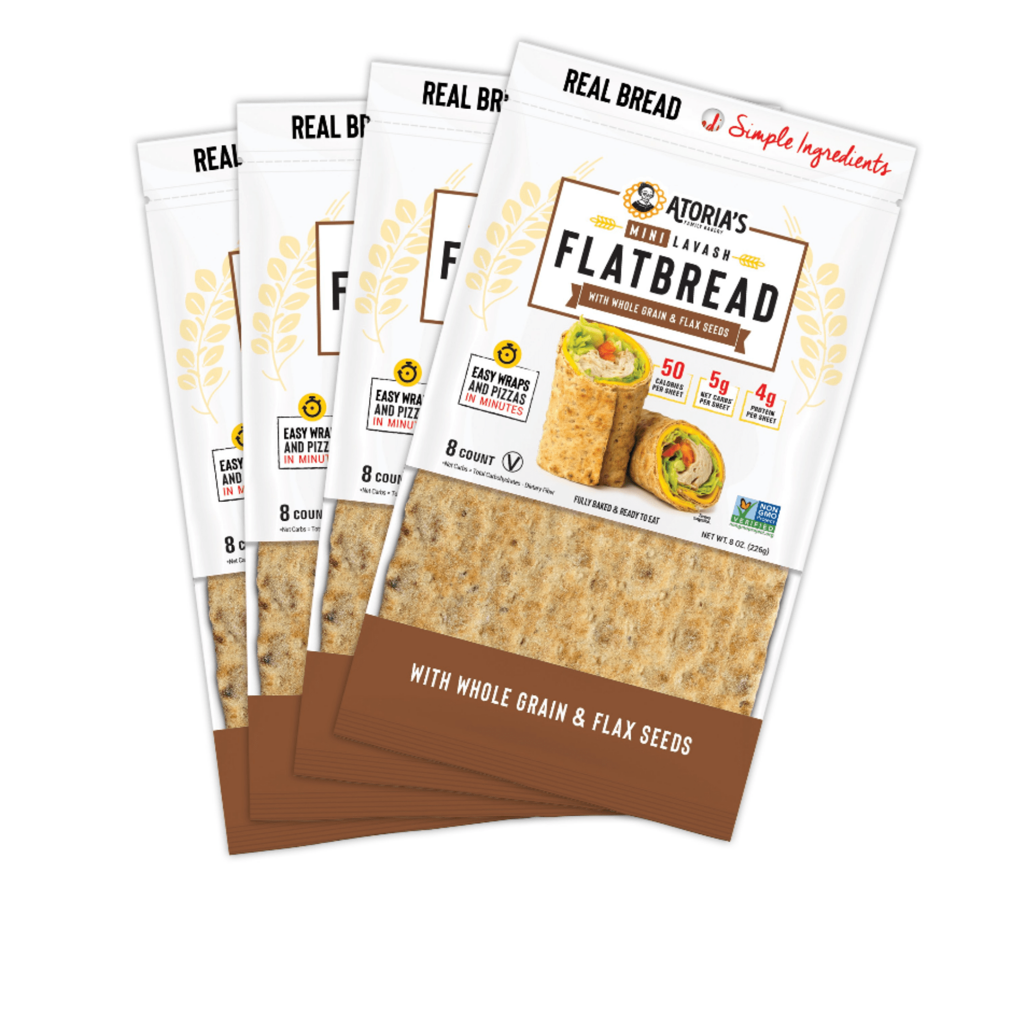 Atoria's Family Bakery Mini Lavash Flatbread Traditional. Easy wraps and pizzas in minutes. 60 calories per sheet. 9g net carbs per sheet. 4g protein per sheet. Keto friendly. 8 count per package. Fully baked and ready to eat.
