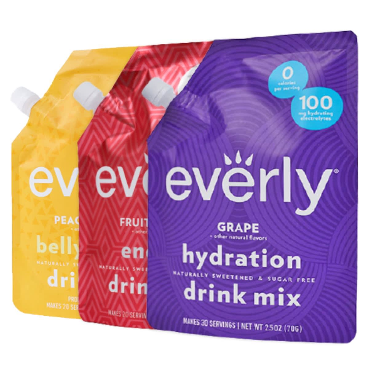 Everly Grape + other natural flavors hydration naturally sweetened & sugar free drink mix. Makes 30 servings. Net weight 2.5oz (70g). 0 calories per serving. 100 mg hydrating electrolytes.