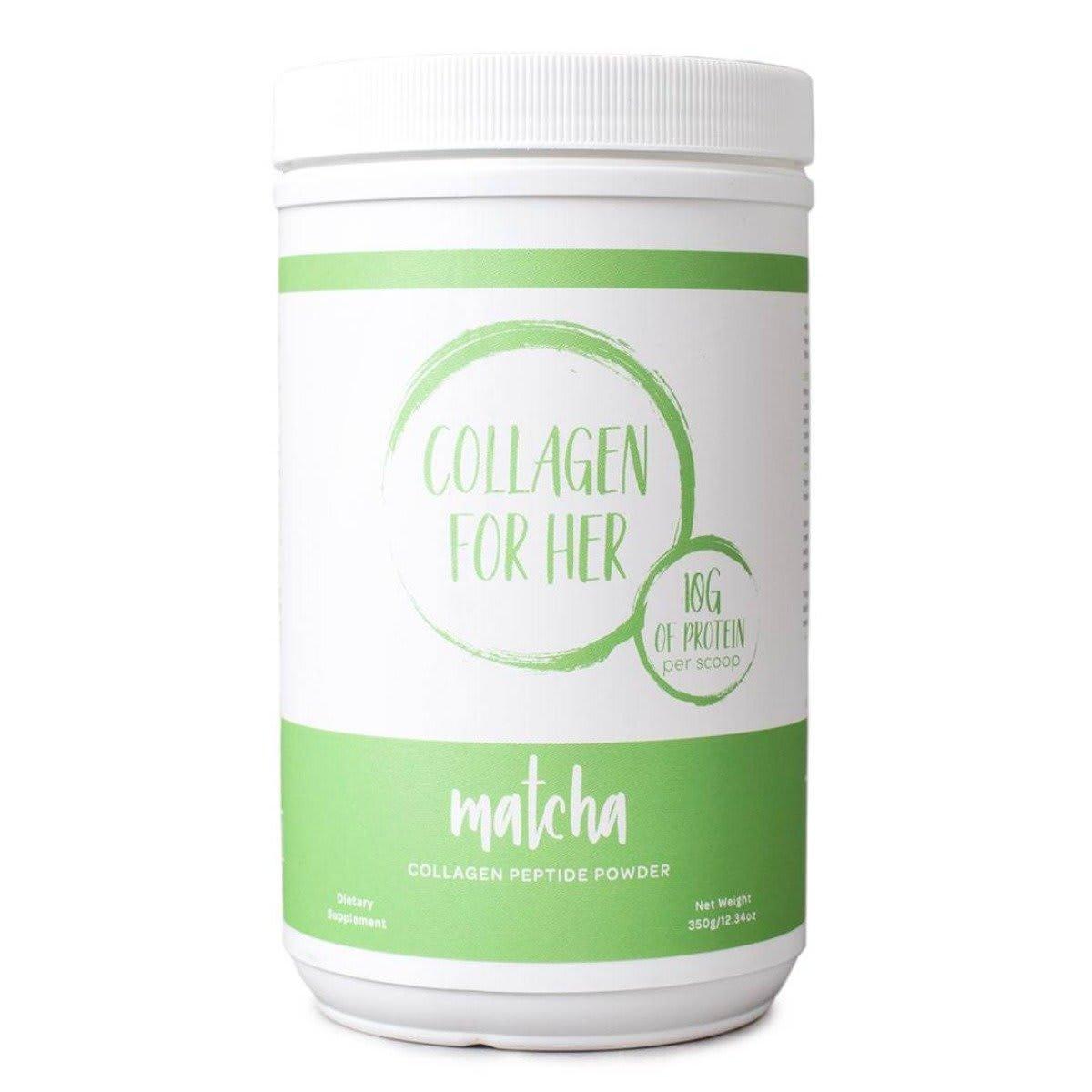 Collagen For Her Matcha Collagen Peptide Powder. Dietary Supplement. Net Weight 350G . 12.34oz. 10G of protein per scoop.