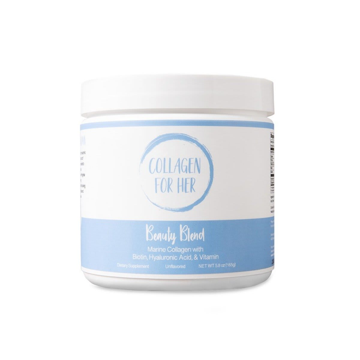 Collagen For Her Beauty Blend Marine Collagen with Biotin, Hyaluronic Acid, & Vitamin. Dietary Supplement. Unflavored. Net Wt 5.8oz (165g)