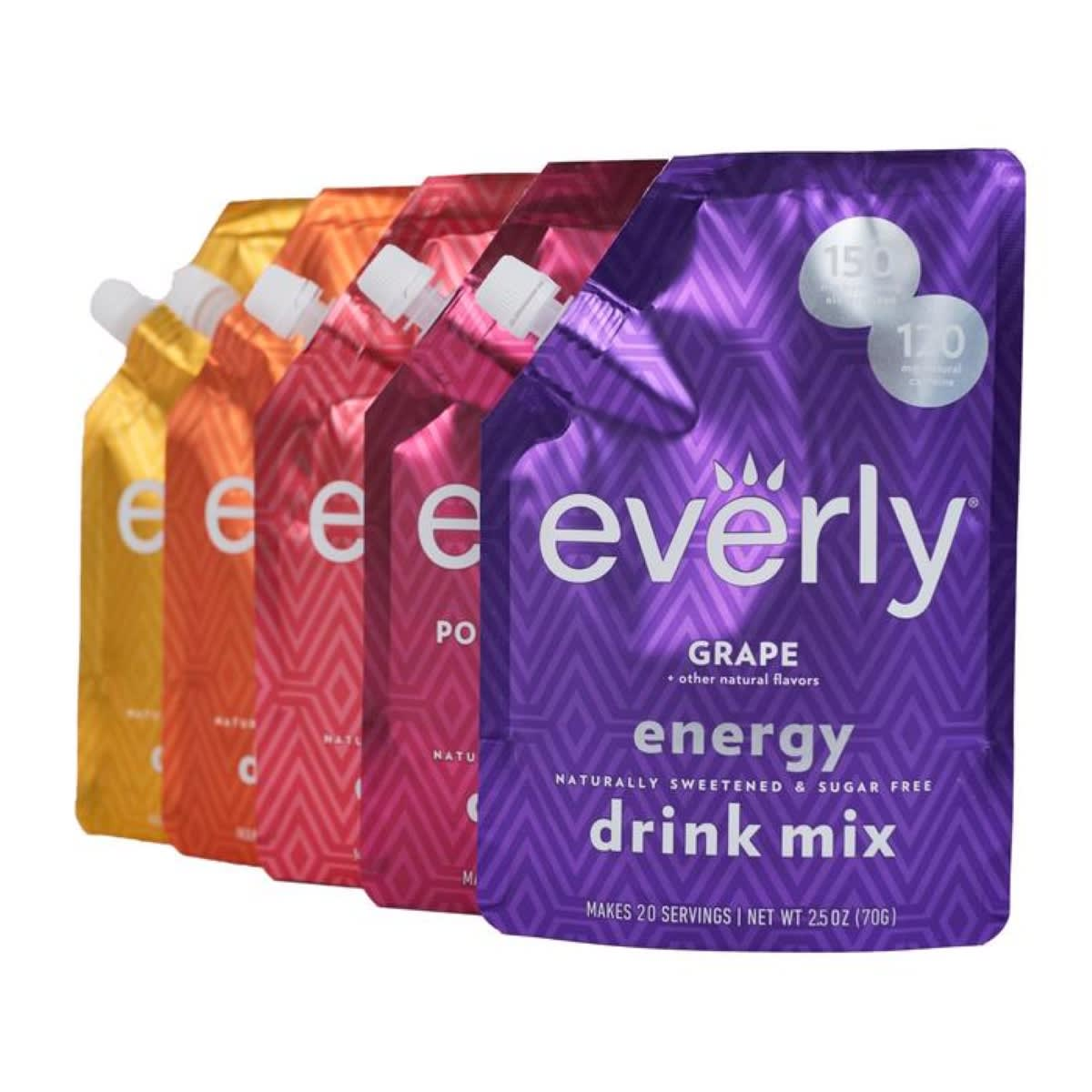 Front view Everly Energy Drink Mixes 5 pack. Shows following flavors: Grape, Pomegranate Berry, Fruit Punch, Frit Tea and Peach Mango.