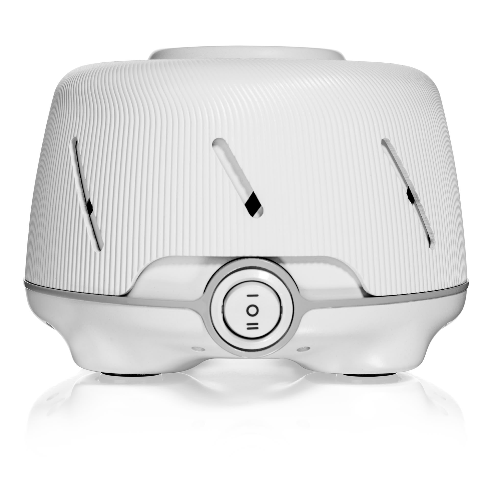 Yogasleep Dohm Natural Sound Machine in White with grey finishes. Flip power switch on front.