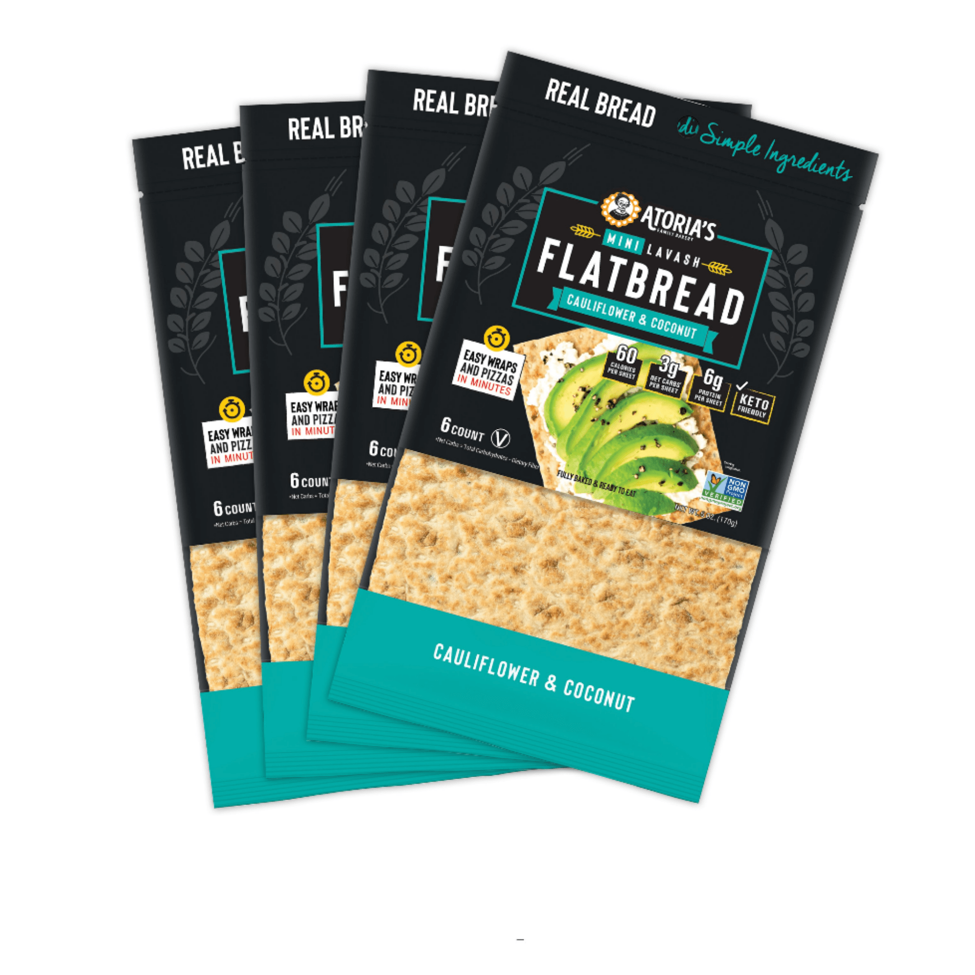 Atoria's Family Bakery Mini Lavash Flatbread Cauliflower & Coconut. Easy wraps and pizzas in minutes. 60 calories per sheet. 3g net carbs per sheet. 6g protein per sheet. Keto friendly. 6 count per package. Fully baked and ready to eat.