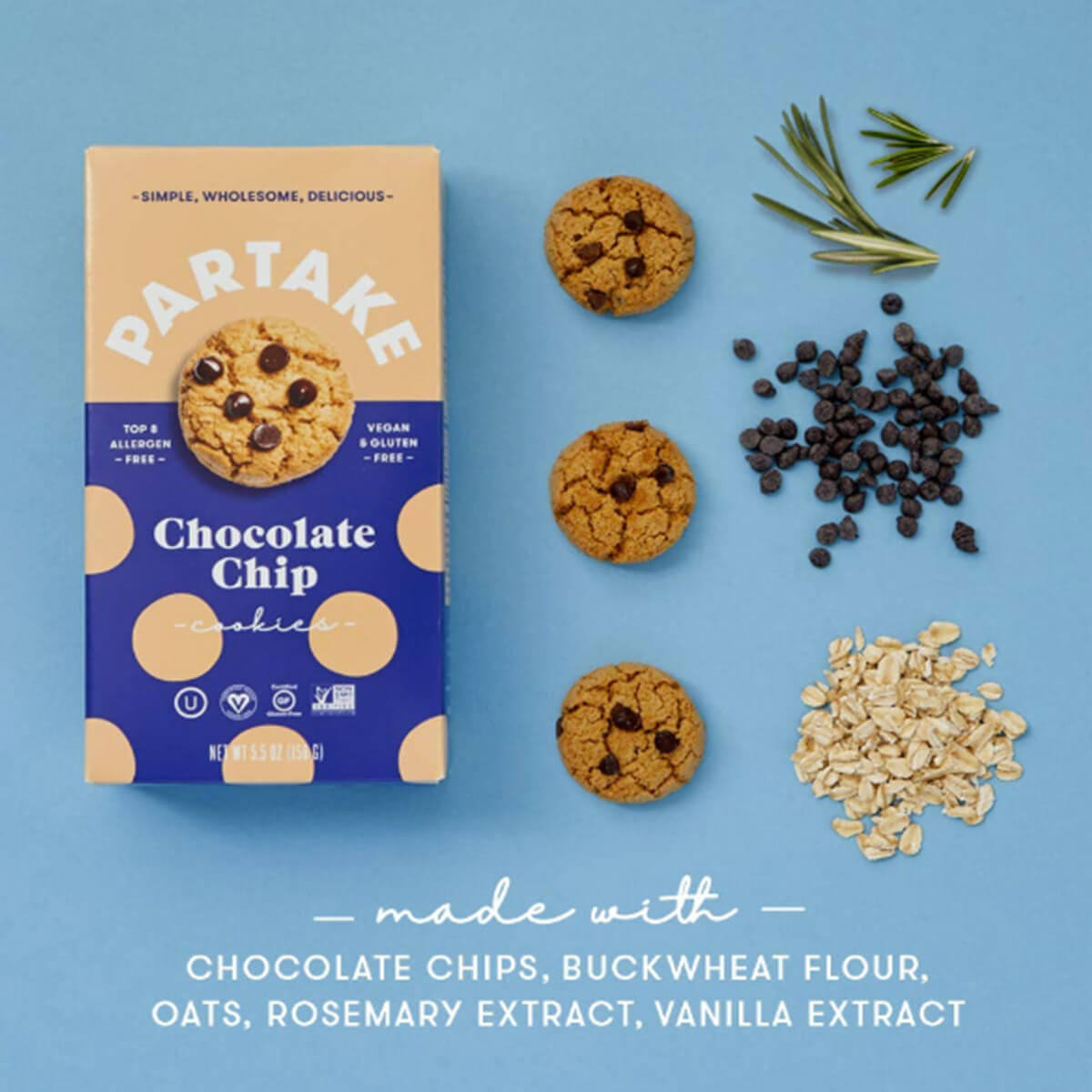 Partake Crunchy Chocolate Chip Cookies - lifestyle