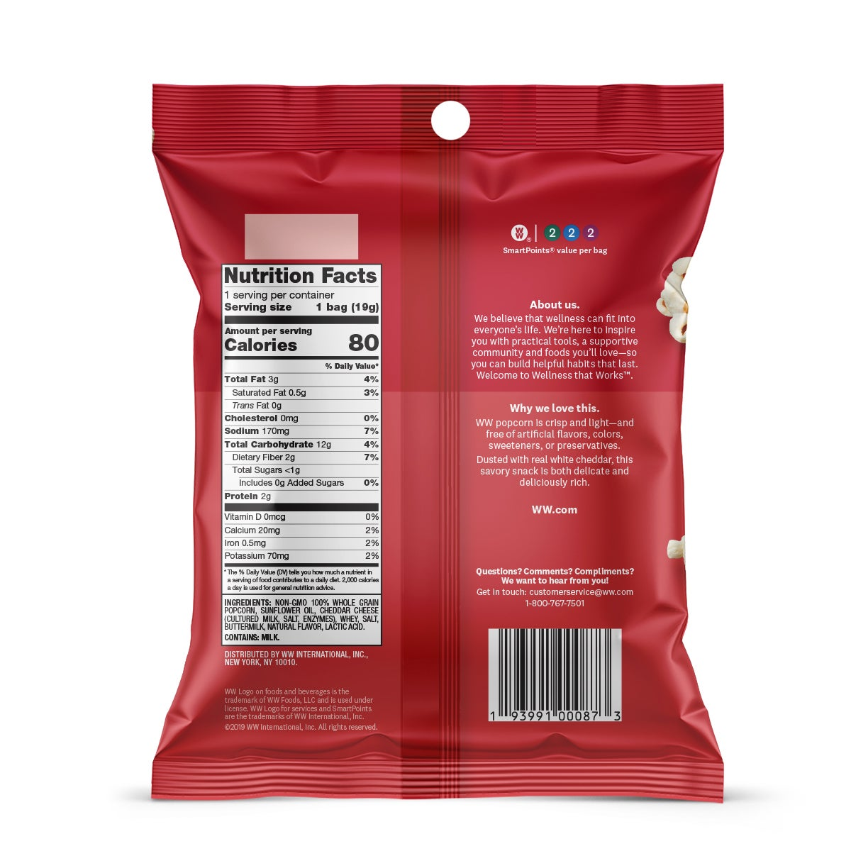White Cheddar Popcorn - Pack of 6 - back of pouch