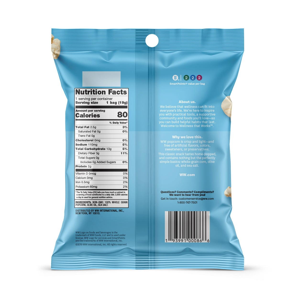 Sea Salt Popcorn - Pack of 6 - back of pouch