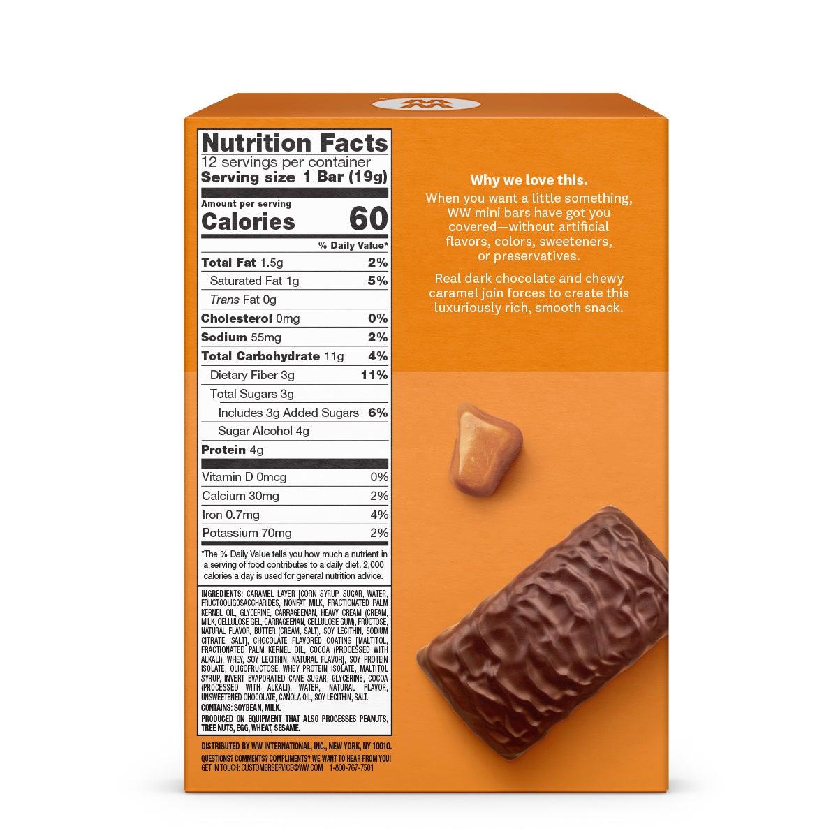 Chocolate Caramel Mini Bar (4-Pack) - back of box