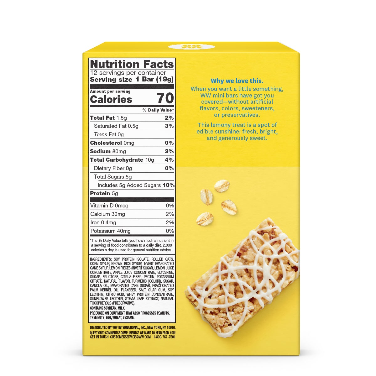 Lemon Cookie Mini Bar - back of box