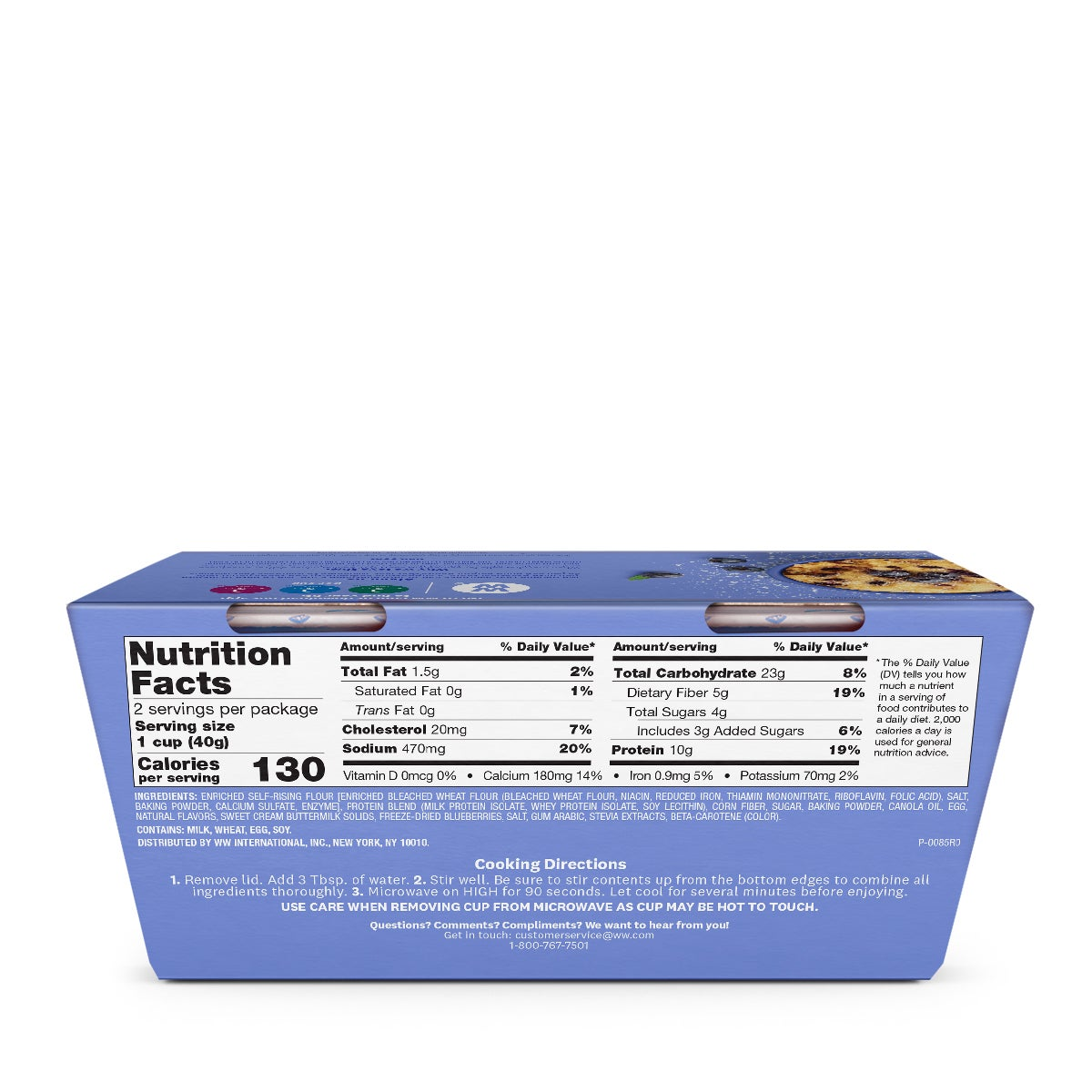 Blueberry Protein Muffin Mix - back of box