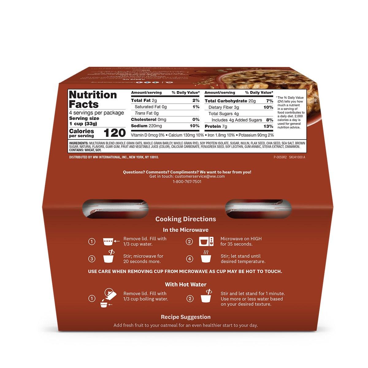 Maple Brown Sugar Oatmeal - back of box