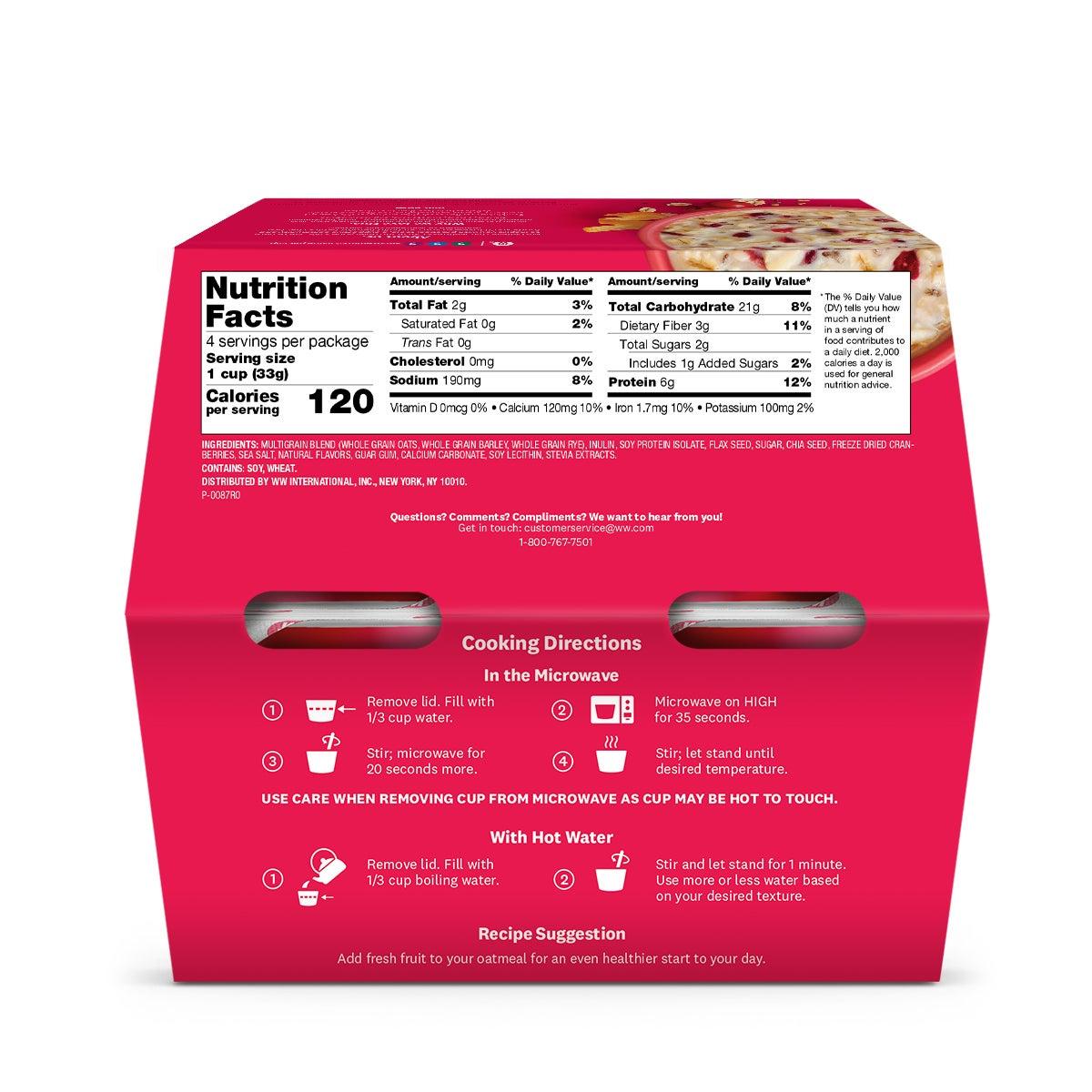 Cranberry Orange Oatmeal - back of box