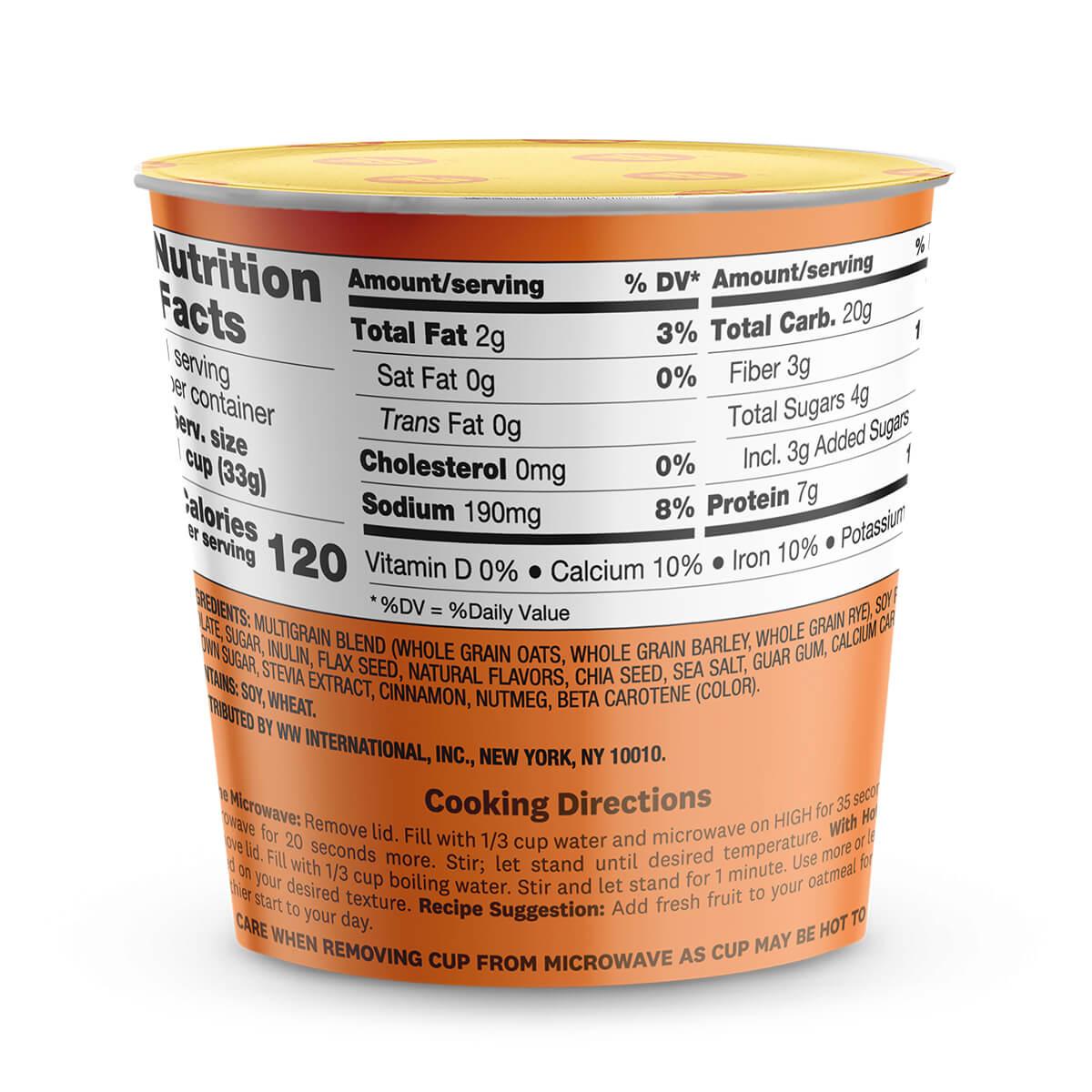 Pumpkin Spice Oatmeal - cup back