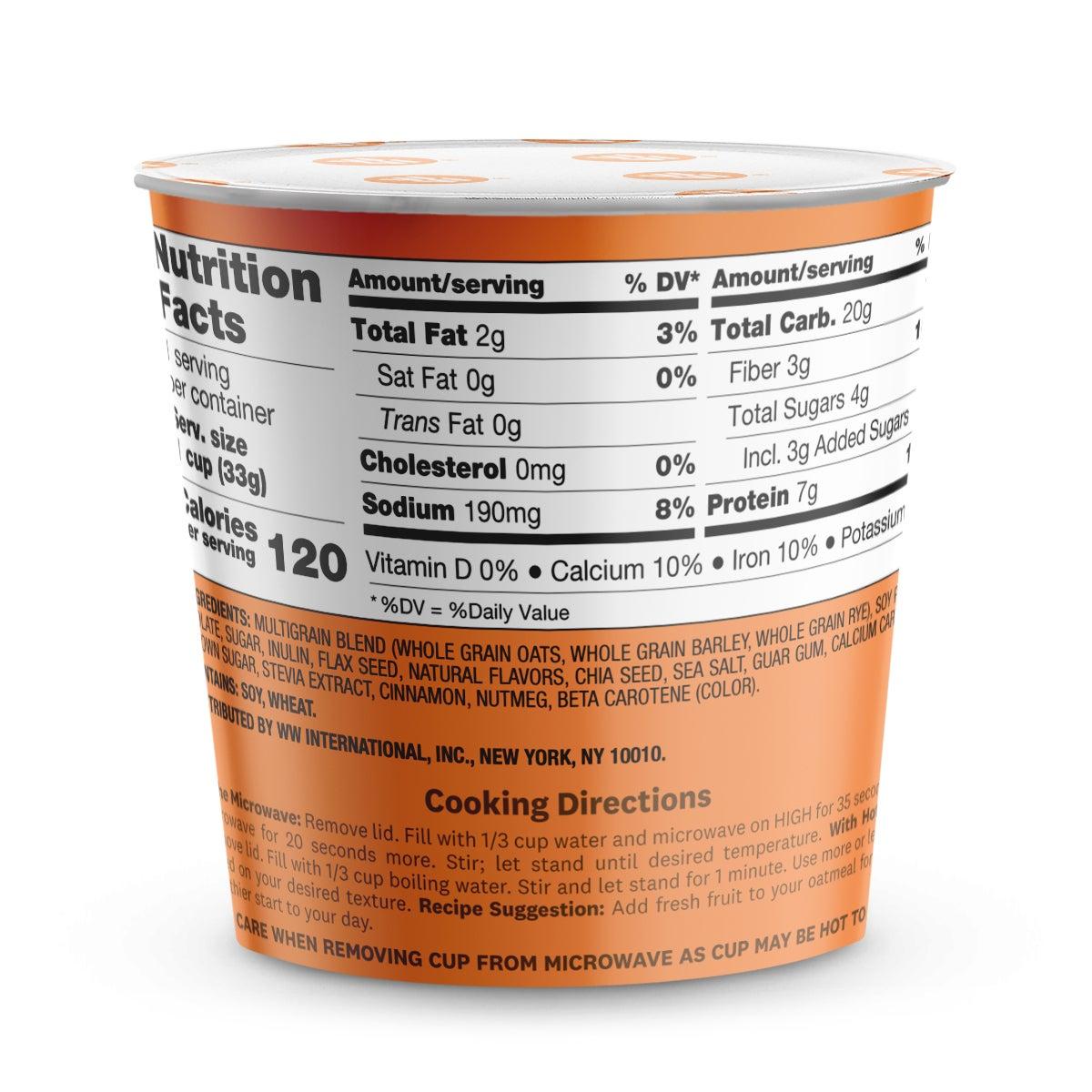Pumpkin Spice Oatmeal - back of box 2